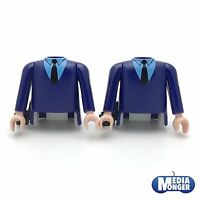 playmobil® 2 x Oberkörper mit Arme blau | Pistolenhalfter | Beamte | Polizei