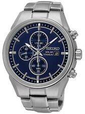 Seiko Solar Chronograph Blue Dial Titanium Mens Watch SSC365
