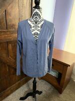 Pendleton blue silk blend v-neck button front cardigan sweater Women's Size L