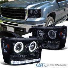 Glossy Black For GMC 07-14 Sierra Pickup Smoke SMD LED Halo Projector Headlights