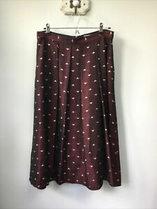 Gorgeous Ladies L.K Bennett Wine & Gold Patterned Skirt, UK Size 14, Very Good C