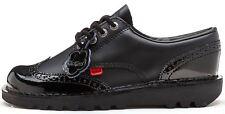 9857 Kickers Kick Lo Brogue Womens Leather Back to School Shoes Black UK 5 - EU 38