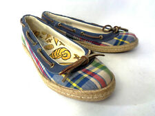 SPERRY TOP-SIDERS Largo Madras US 8M Blue Brown Plaid Ballet Flat Boat Shoe