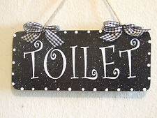 Lovely Decorative Handcrafted Plaque White on Black TOILET Door/Room Sign