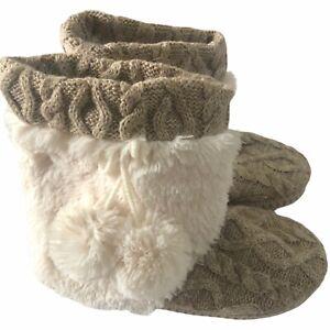MUKLUKS Tan Gold Slipper Sweater Boots SLIPPERS Faux Fur poms Womens 7 /8 #FF781