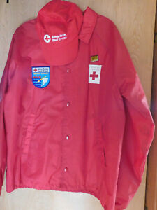 Vintage American Red Cross Jacket - Cap - Patch & Pin - Disaster Relief