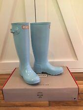 Hunter Original Tall Gloss Rain Boots Tiffany Blue Pale Mint Womens 37 US 7