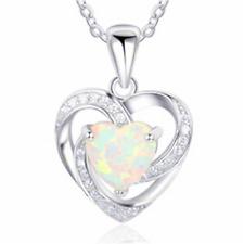 Fashion woman 925 Silver Hear Blue Fire Opal Charm Pendant Necklace Chain NEW ~~