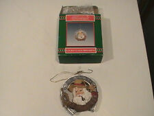CHRISTMAS AROUND THE WORLD LUCKY CLAUS ORNAMENT WESTERN SANTA HORSE SHOE