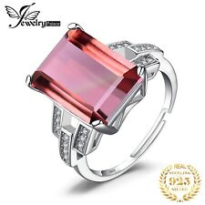 925 Sterling Silver Genuine Swiss Red Gemstone Chrome Diopside and Emerald Ring