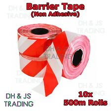 10 Rolls of 500m Red & White Stripe Non Adhesive Barrier Hazard Warning Tape