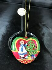 Raggedy Ann Trimming the Tree Ornament Heart Danbury Mint Bx2