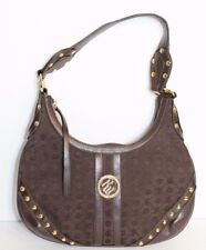 Rocawear Brass Studded Brown canvas with Zippered Shoulder bag purse