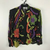 Chico's Chiffon Silk Jacket Semi Sheer Bold Floral Size 2 Multicolor Long Sleeve