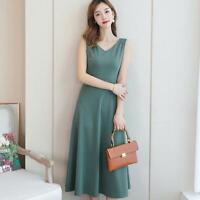 Vogue V-neck Sleeveless A-line Maxi Long Korean Style Summer Sweet Leisure Dress
