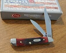CASE XX Crimson Barnboard Jigged Bone Handle 2 Blade Peanut Knife/Knives