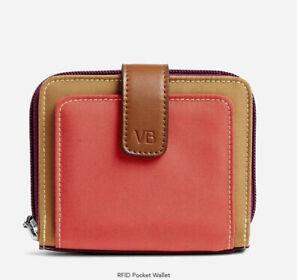 NWT Vera Bradley Hot Lava Lighten Up RFID Pocket Wallet Birds Lining Orange $48