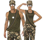ARMY MILITARY ACCESSORY KIT GLASSES HAT DOG TAG BULLET BELT LONG FANCY DRESS