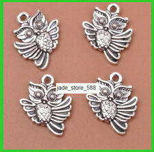 15pcs Tibetan Silver Double sided Charm owl Pendants 20mm  Wholesale