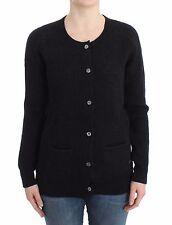 NWT $300 JOHN GALLIANO Black Ribbed Wool Cardigan Jumper Sweater Knit M/ US 8