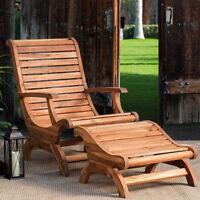Teak Oiled Plantation Adirondack Outdoor Patio Deck Chair & Ottoman - New!
