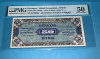 PMG Germany/Allied Occupation-WWII 1944 50 Mark Banknote p196a AU