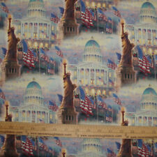 Cotton Fabric DIGITAL print Thomas Kinkade Statue of LIBERTY America Flag  BTY
