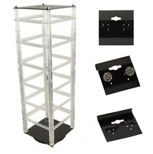 """Rotating Earring Hanging Card Display Stand with 100 Black 1.5"""" Hanging Cards"""