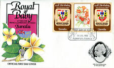 TUVALU FUNAFUTI 1982 BIRTH OF PRINCE WILLIAM 45c GUTTER PAIR FIRST DAY COVER (a)