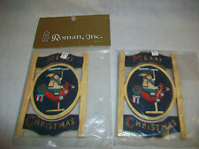 2 Roman Inc. Painted Wooden Christmas Ornaments Christ is Coming c. 1997
