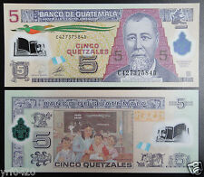 Guatemala Polymer Plastic Banknote 5 Quetzales 2010 UNC