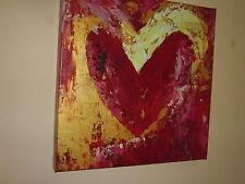 Corazón Rojo Hoja de Oro Pintura Al Óleo 20x20 No un Póster o Estampado Heavy