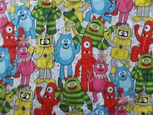 "Yo Gabba Gabba Cotton Fabric  35"" X 44'' + 20"" x 24"" Hoffman 2011 OOP rare"