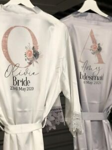 Personalised bridal robe, Satin lace dressing gown, Bride dressing gown