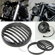 "5 3/4"" CNC Black Headlight Grill Cover For Harley Davidson Sportster XL 883 1200"