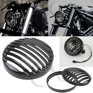 """5 3/4"""" CNC Black Headlight Grill Cover For Harley Davidson Sportster XL 883 1200"""