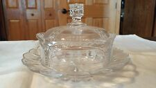 Vintage Clear Cut Glass Crown Shaped Dome Lid Cheese Butter Dish