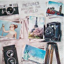 4 x SERVILLETAS DE PAPEL / DECOUPAGE CRAFT,  RETRO TRAVEL PICTURES NAPKINS