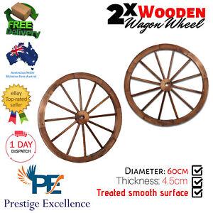 2Pcs Wooden Wagon Wheel Rustic Country Vintage Look Garden Home Décor Cart Coach
