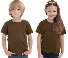 Hanes Plain BROWN Childrens Kids Boys Girls Childs Cotton Tee T-Shirt Tshirt