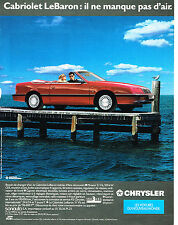 PUBLICITE ADVERTISING 025  1990  CHRYSLER  le CABRIOLET LE BARON