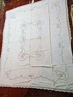 "Vintage Linen Tablecloth 85"" x 65"""