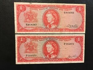 TRINIDAD AND TOBAGO  (2 Notes)  1 Dollar  1964  -- Different signatures