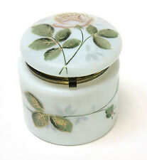 Victorian White Opaline Vanity Boudour Jar Box Hand Painted Roses Gold Trim