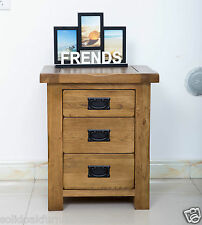 Original Rustic Solid Oak 3 Drawer Bedside Table Cabinet Chest Storage Unit New