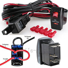 12V On/Off 5 pins Red LED Light Bar Rocker Switch + Wiring Harness Relay Fuse