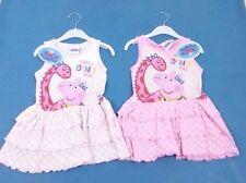 Peppa Pig & Dino Girls Pink Spotty Spot Summer Holiday Dress Age 2 3 4 5 6 8 Yrs