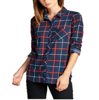 Women Casual Flannel Button Down Plaid Long Sleeve Shirt Tops Blouse(S-L