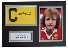 Jimmy Nicholl Signed Captains Armband A4 photo display Man United Football COA