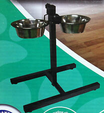 Double Dog Diner 2 Stainless Steel Bowls On An Adjustable Stand Great Value!
